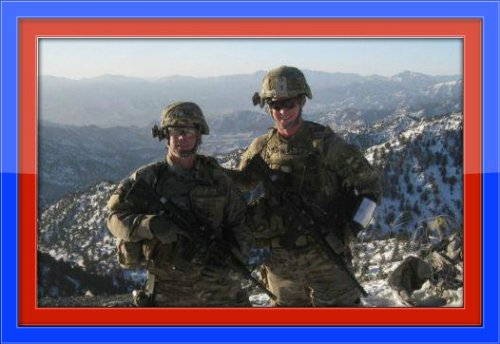 1st Lieutenant Sam Goodgame (right), with one of his soldiers in Afghanistan.