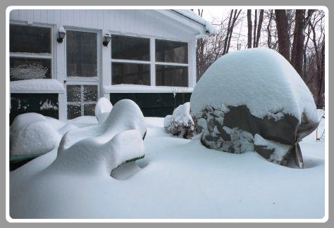 The snow was symmetrical in William Ellis' backyard.