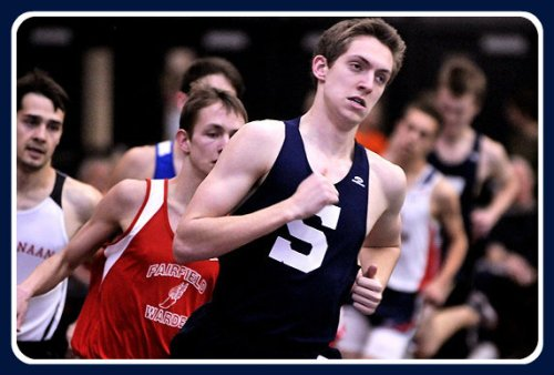 Henry Wynne leads the pack in an indoor race. (Photo courtesy of MSG Varsity)