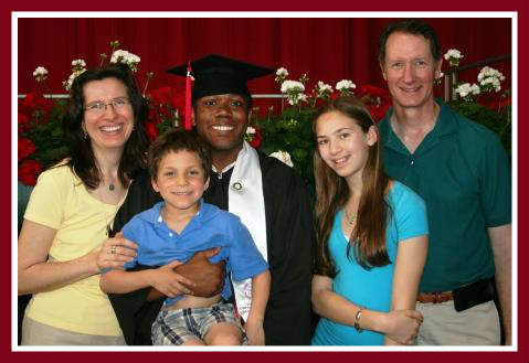 When Savion Agard graduated from Cornell, the Mathias family was there. From left: Kim, Nick, Savion, Nicole and Mark.