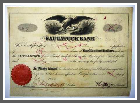 A Saugatuck Bank stock certificate, for $100, from 1855.