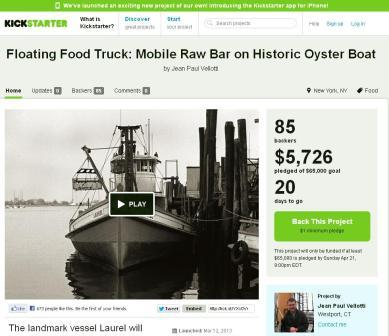 The Kickstarter screenshot for Westporter Jean Paul Vellotti's oyster restaurant project.