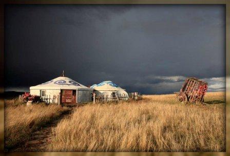 Yurts, in a Mongolian field.