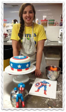 Amelia Green, with her Captain America cake.