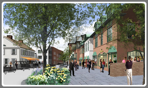 A rendering of Church Lane. The Spotted Horse is at the left; the former YMCA is on the right.