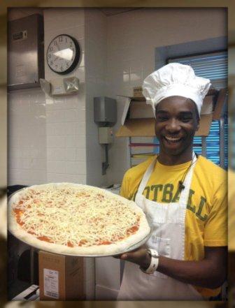 Malik Brantley in culinary class.