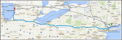 According to Google Maps, it's 819 miles (and 12 hours, 51 minutes) from beautiful Westport, CT to lovely Saugatuck, MI. Unfortunately, you'll spend most of your time on I-80, driving across Pennsylvania.