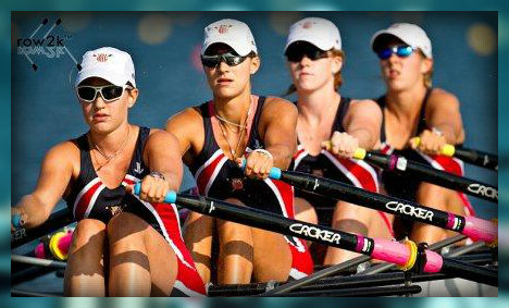 Lizzy Youngling (2nd from left) at the Junior World Championship heats in 2011. (Copyright www.row2k.com)