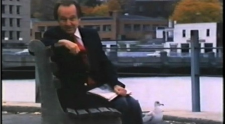 "ABC's ""Wide World of Sports"" anchor Jim McKay sits on the banks of the Saugatuck River, in the town he called home."