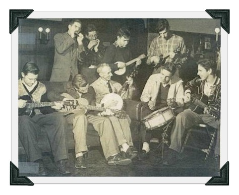"""Doc Doubleday playing banjo, with Westport teenagers. Eric (""""Rick"""") von Schmidt -- who went on to great fame as a folk singer -- is the guitarist on the right."""
