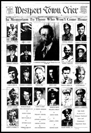 On August 17, 1945 the Westport Town Crier honored all the local boys who died in World War II.