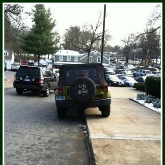 Parking on sidewalk