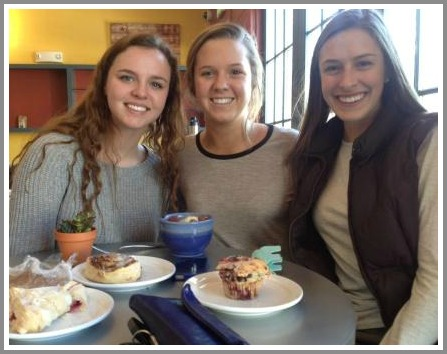 Sophia McConnell, Elizabeth Colwell and Meghan Lonergan get a jump on Java's opening.