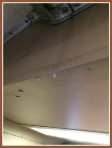 Yes, that's water leaking in a Metro-North car. (Photo/Josh Prince)