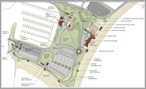 Part of the proposed plan showed new entranceways, an expanded boardwalk, and a parking area in the center of the beach.