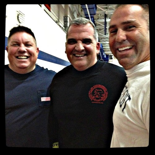 Officer Ned Batlin, Deputy Chief Foti Koskinas and Captain Sam Arciola are all smiles -- before the dodgeballs start flying.