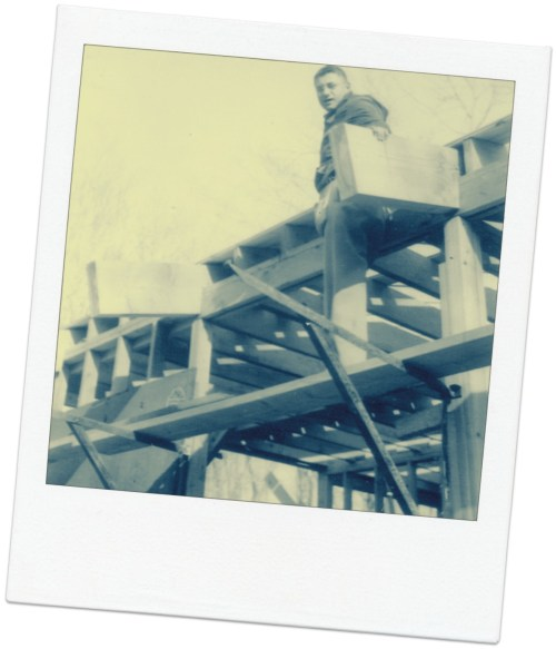 Richard Brodie in the rafters as he built his home, 1954.