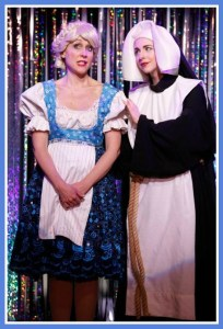"""In this """"Sound of Music Live on NBC"""" sketch, Mia plays Audra MacDonald, (right), while Carter Calvert is Carrie Underwood)."""
