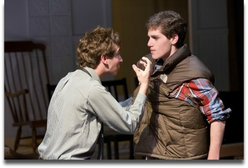 Will Haskell (left) and Scott Yarmoff play siblings dealing with their brother's suicide. (Photo/Kerry Long)