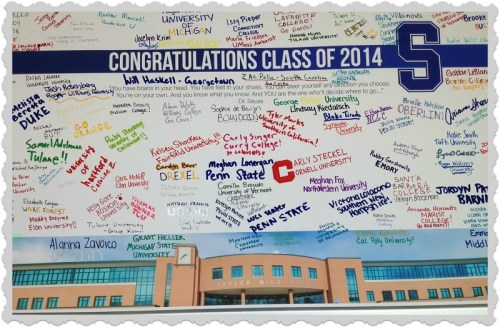 Staples grads proudly signed posters announcing their post high-school plans. Goodbye and good luck, Class of 2014!