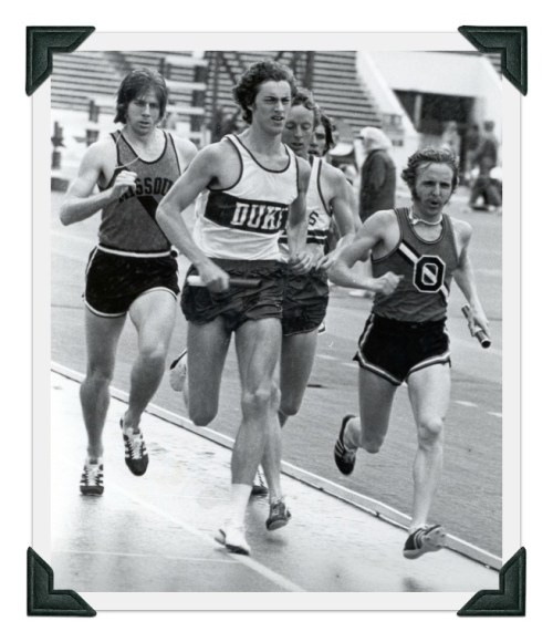 Steve Wheeler (Duke) sets the pace in a relay race. (Photo/Sir Walter Miler)