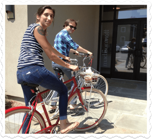 Jessica Trimble and Mike Barnes return from a coffee run.