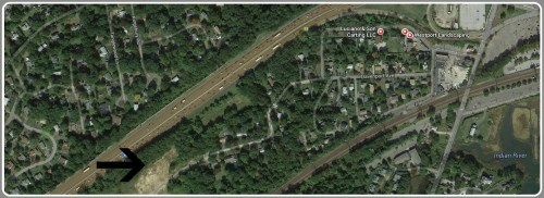 Hiawatha Lane extension is shown by an arrow, on this Google Map image. It's below I-95. The entrance is via West Ferry Lane, which is off Saugatuck Avenue (diagonal road on the right side of the image).