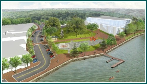 An illustration of the possible reinvention of Jesup Green shows a pier, and relocation of parking.