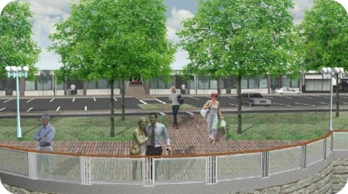 A section of the reimagined Parker Harding Plaza shows much more green along the riverfront.