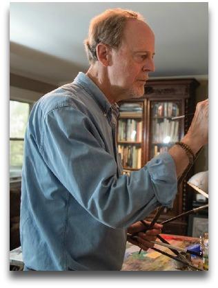Bradley Stevens, at work in his studio. (Photo/GW Magazine)