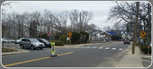 The crosswalk on Riverside Avenue, at South Sylvan. It's pretty clearly marked.