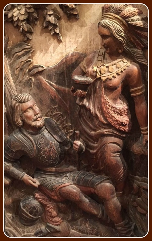 There is great detail too in this carving of Pocahontas and John Smith.