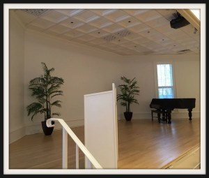 A Steinway piano and modern lighting are just 2 features of the new Bedford Hall stage.