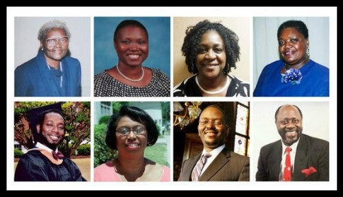 Clockwise from top left: Susie Jackson; Sharonda Coleman-Singleton; DePayne Doctor; Ethel Lance; Daniel Simmons Sr.; Clementa Pinckney; Cynthia Hurd; Tywanza Sanders.