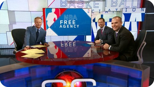 "David Lloyd, Chris Broussard and Tom Haberstroh on ESPN's ""Sportscenter"" this afternoon."