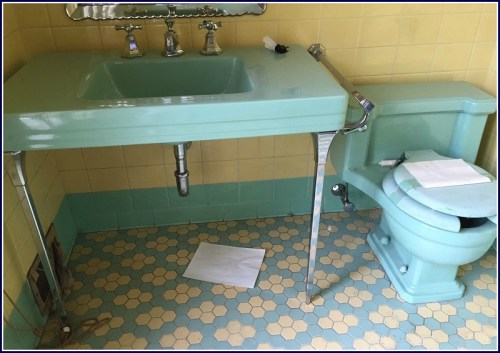You don't see free-standing sinks like these every day.
