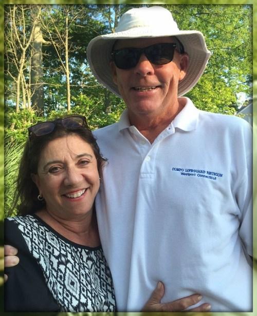 Lifeguard reunion host Ann Becker Moore, with former guard Bill Bellock.