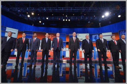 Ethan Zorfas' job is to help Senator Ted Cruz (3rd from right) break out of the GOP pack. Besides these 10, 7 other Republicans are running for president.