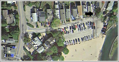 There is limited parking at Old Mill Beach. An arrow (top right) shows the site of this weekend's art show. (Photo/Google Maps)
