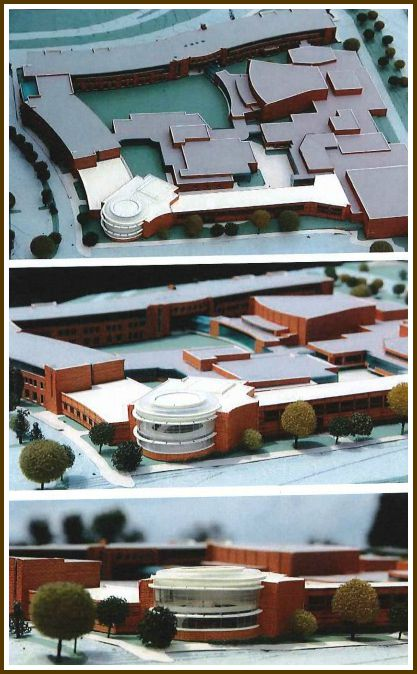 Three views of the proposed expansion of Staples High School. The new construction -- shown in white -- would be on the easternmost part of the current building, from the current horticulture class garden northward toward the cafeteria.