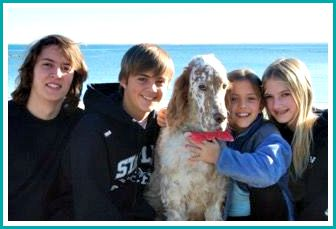 Austin Hood (left) and his siblings, at their Compo Beach home.