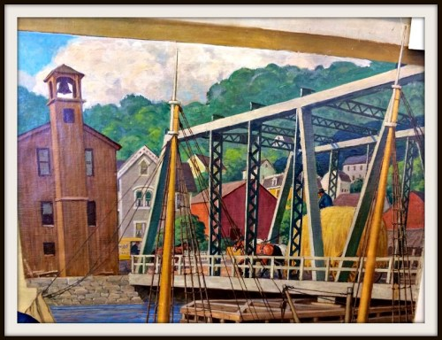 A detail of the Bridge Street Bridge, from Robert Lambdin's Saugatuck mural.