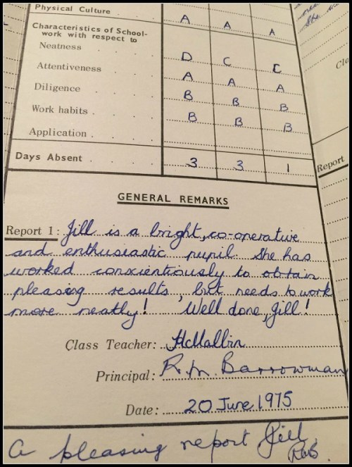 """One woman brought her Grade 5 report card to the party. Hazel says, """"How simple it was!"""" She adds, """"I am utterly embarrassed by the comments I wrote."""""""