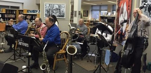 The Survivors provided swing music in the Westport Library's Great Hall.
