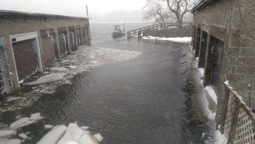Sherwood Mill Pond residents with cars in this garage were not going anywhere today. (Photo/Matt Murray)
