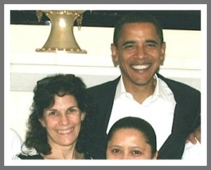 Sarah Gross with a very satisfied President Obama.