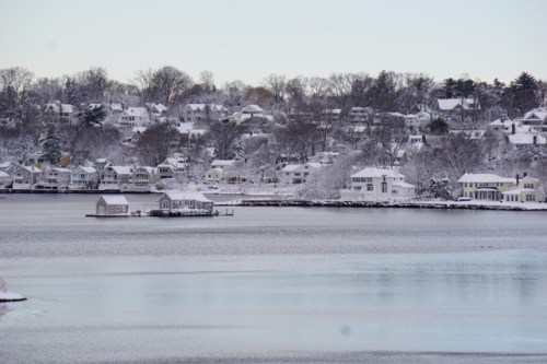 Snow-covered Compo Hill, as seen from across the Sherwood Mill Pond by David Squires.
