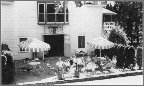 Relaxing outside the White Barn Theatre, around 1951.