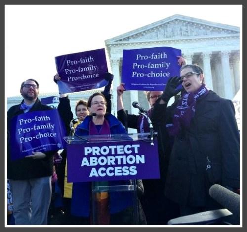 Rev. Debra Haffner (center) speaking on the steps of the Supreme Court yesterday.