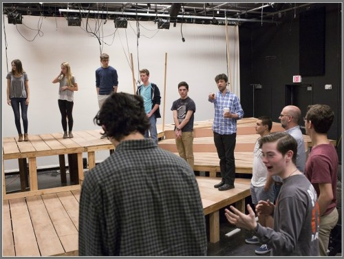 """Laramie Project"" actor Andy Paris (blue plaid shirt, coffee cup) works with Staples Players. (Photo/Kerry Long)"